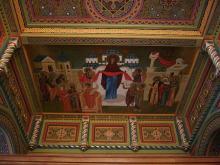 Образ Покрава Божией Матери с предстоящими.Фреска над хорами храма преподобномученика Андрея Критского